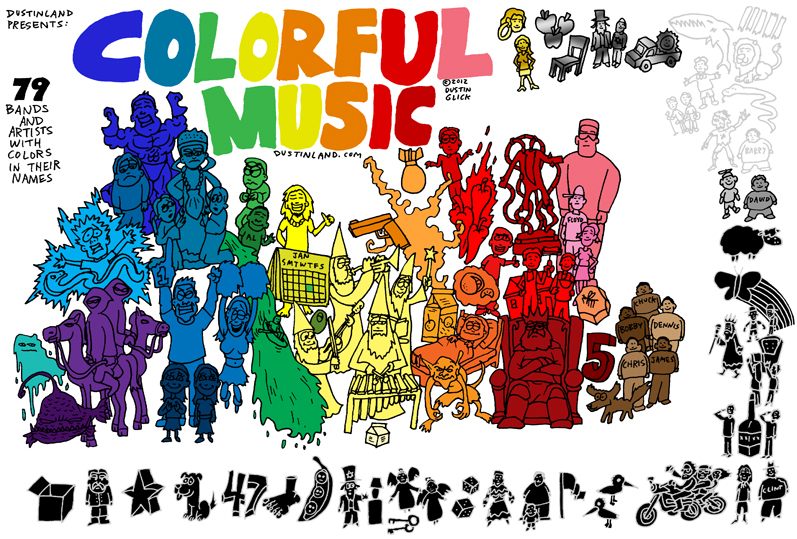 dustinland color bands music comic