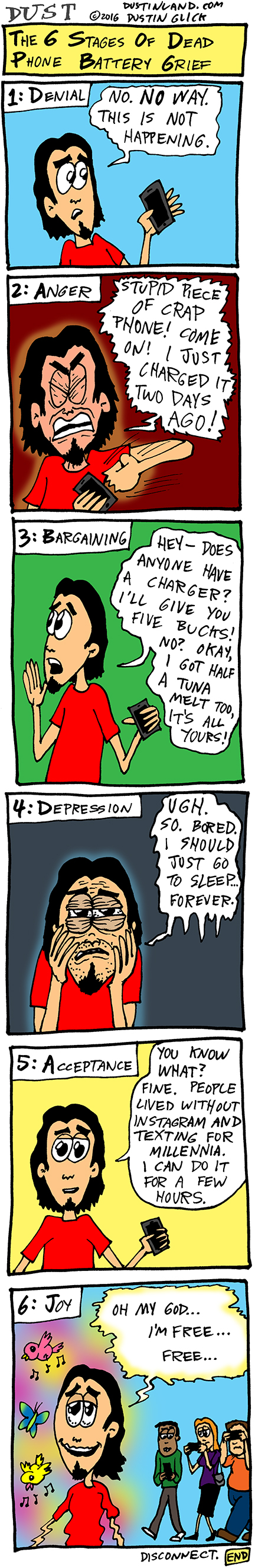 dustinland dead phone battery grief comic