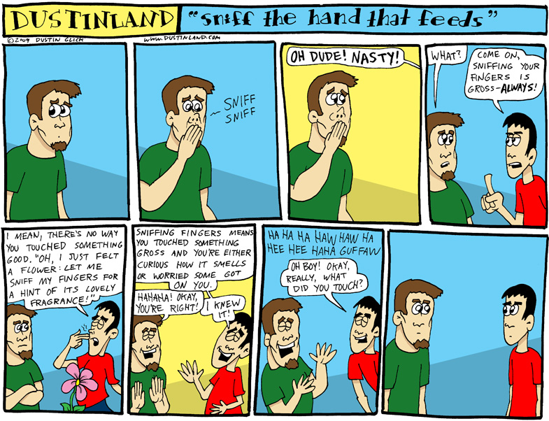 dustinland comic cartoon finger sniff