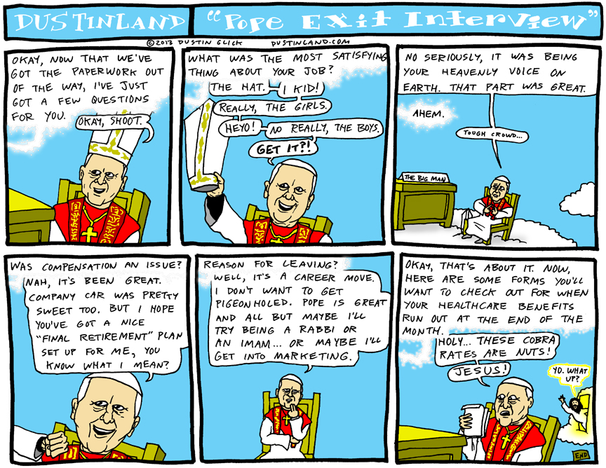 dustinland pope exit interview comic
