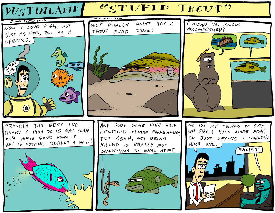 dustinland trout fish comic