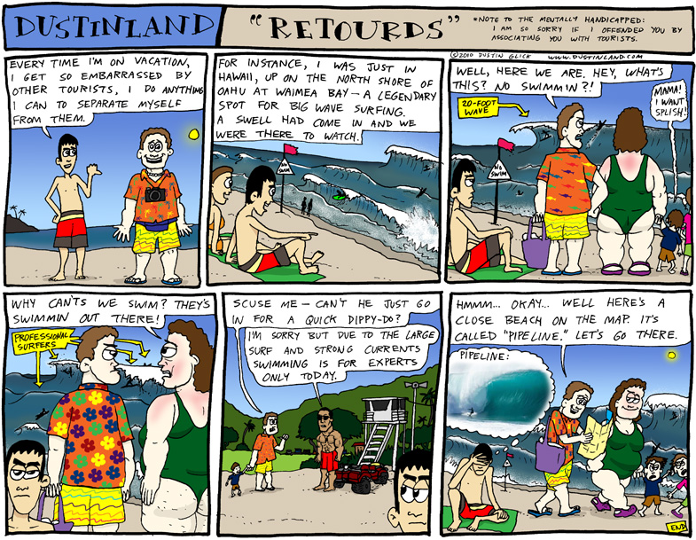 dustinland comic cartoon waimea bay surfing